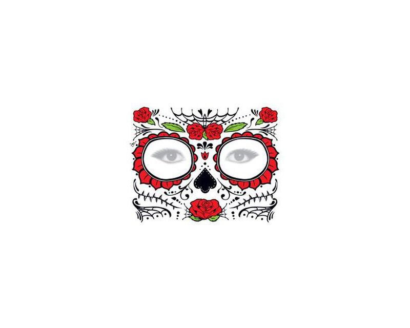 Glitter Day of the Dead Red Rose Face Temporary Tattoo image number null