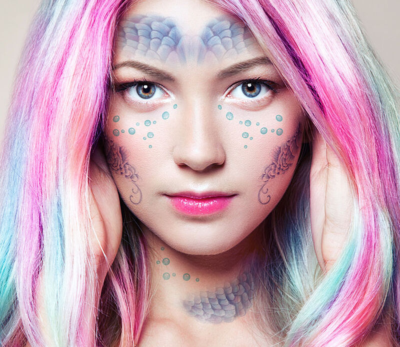 Mermaid Face Temporary Tattoo image number null