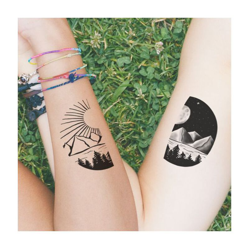 Sun and Moon Landscape Couples Temporary Tattoo image number null