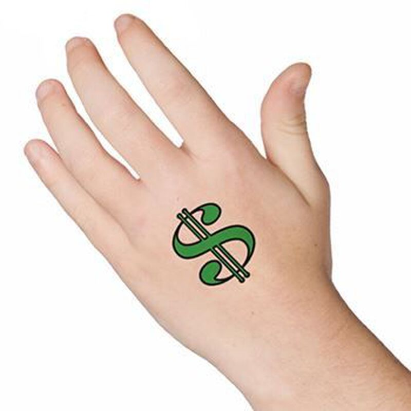 Dollar Sign Temporary Tattoo image number null