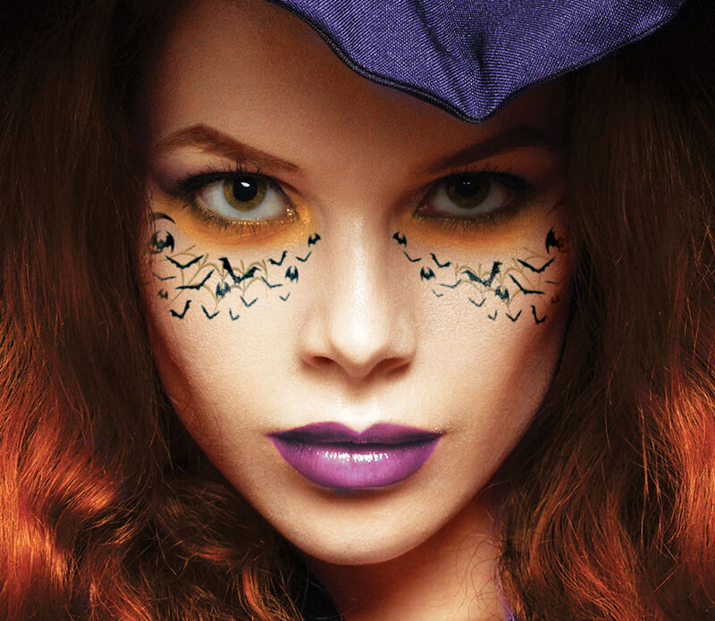 Cats and Bats Halloween Freckles Temporary Tattoo image number null