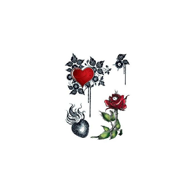 Hearts and Roses Temporary Tattoo image number null