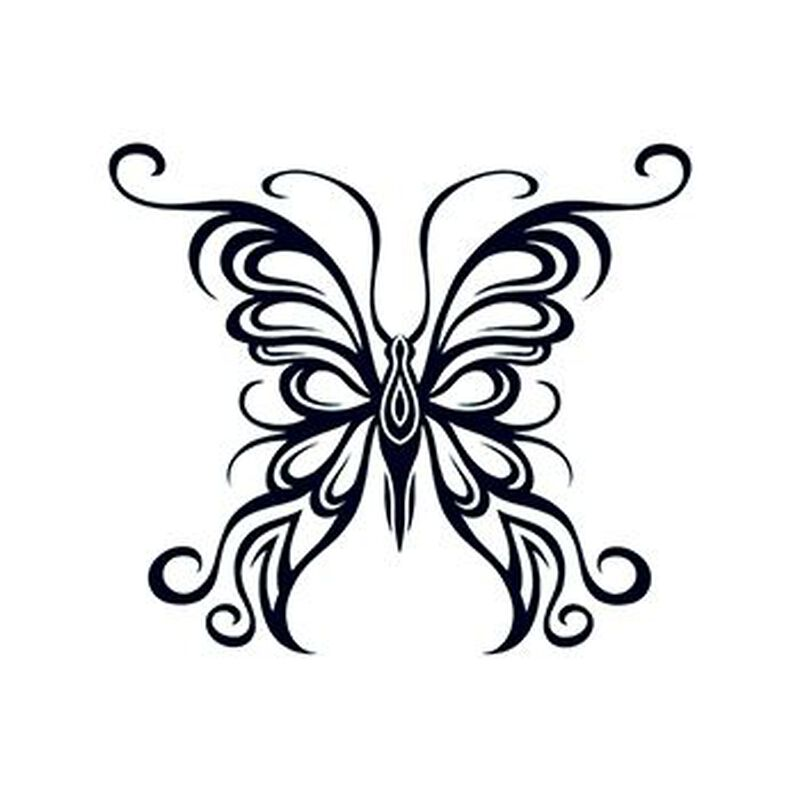 Tribal Outline Butterfly Temporary Tattoo image number null