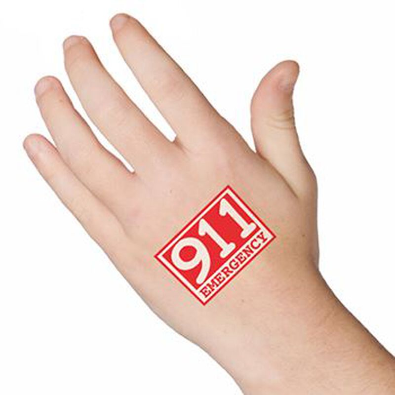 Glow Red Emergency 911 Temporary Tattoo image number null