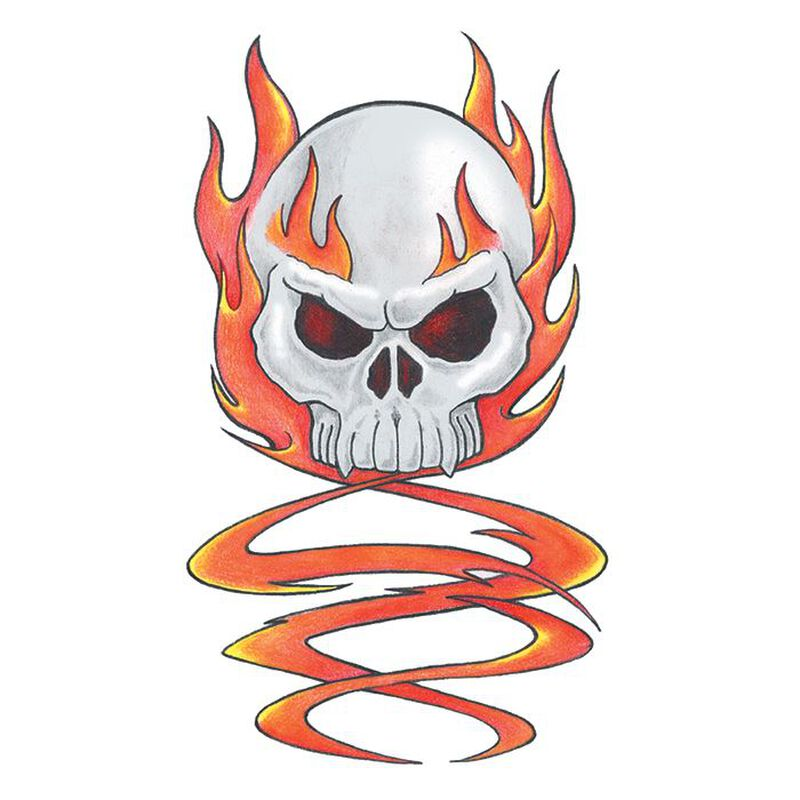 Traditional Skull with Flames Temporary Tattoo image number null