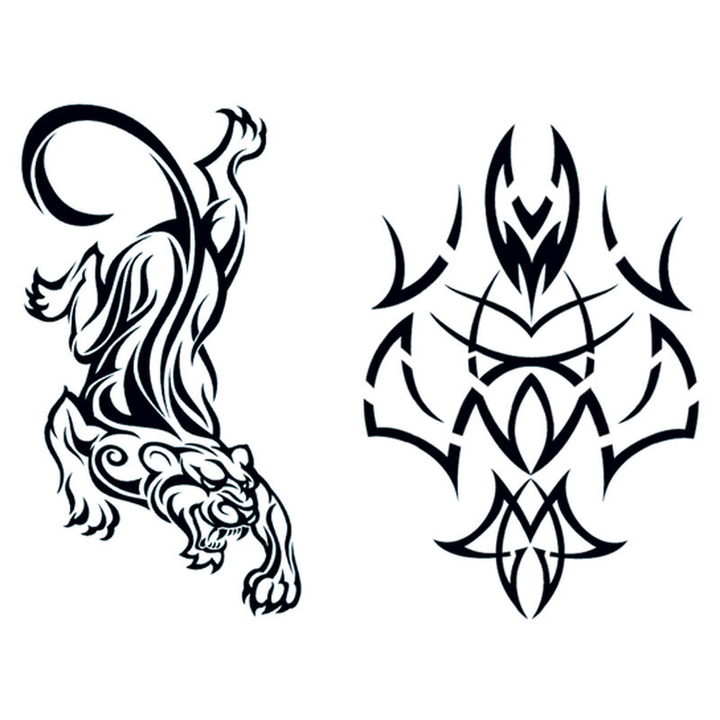 Glow in the Dark Tribal Panther Temporary Tattoos image number null