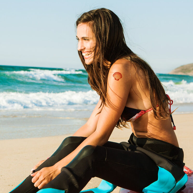 Coral Seashell Temporary Tattoo image number null