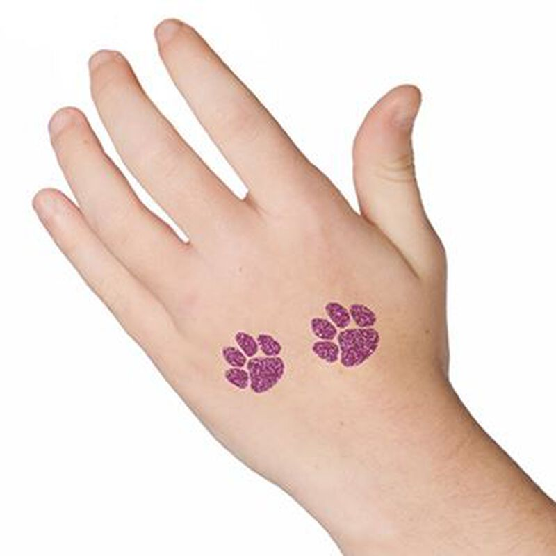 Glitter Purple Paw Prints Temporary Tattoos image number null