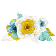 Metallic Watercolor Teal Flowers Temporary Tattoo