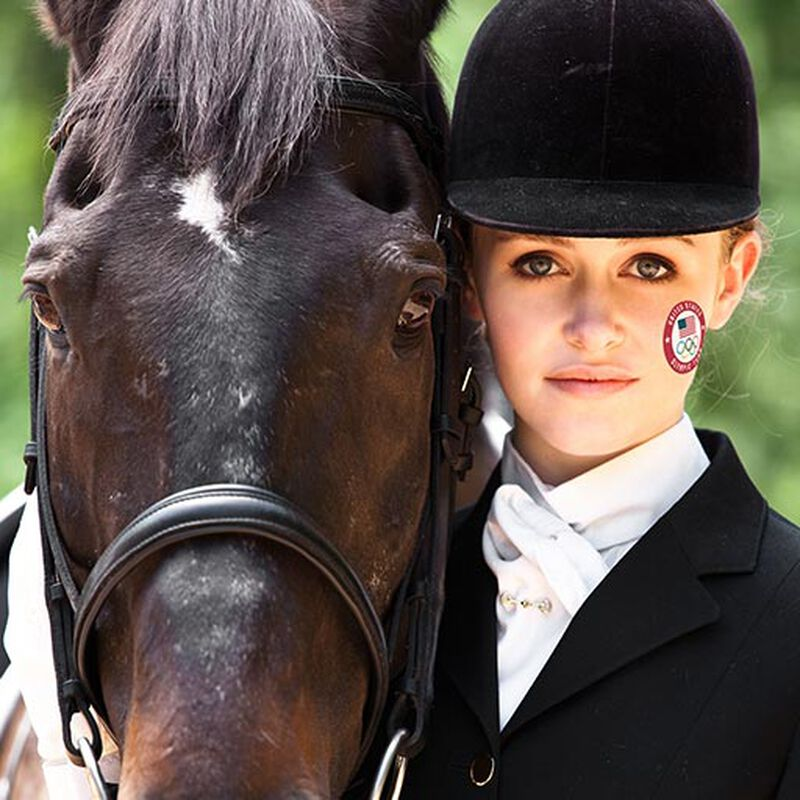 horseback rider wearing us olympic team seal tattoo on face image number null