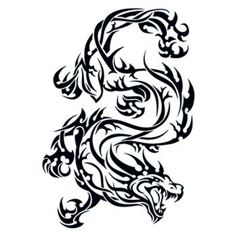 Tribal Traditional Dragon Temporary Tattoo image number null
