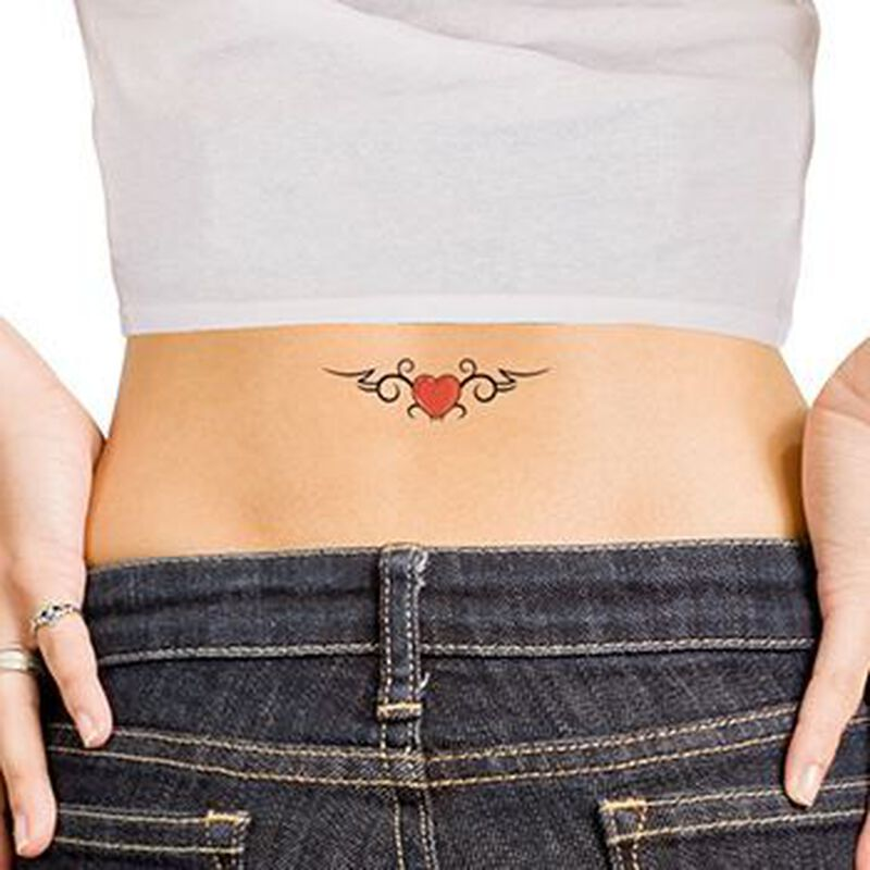 Double Tribal Hearts Temporary Tattoo image number null
