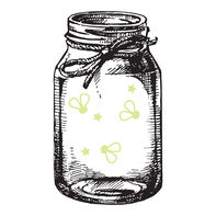 Mason Jar with Reveal Glow-in-the-Dark Fire Flies Temporary Tattoo