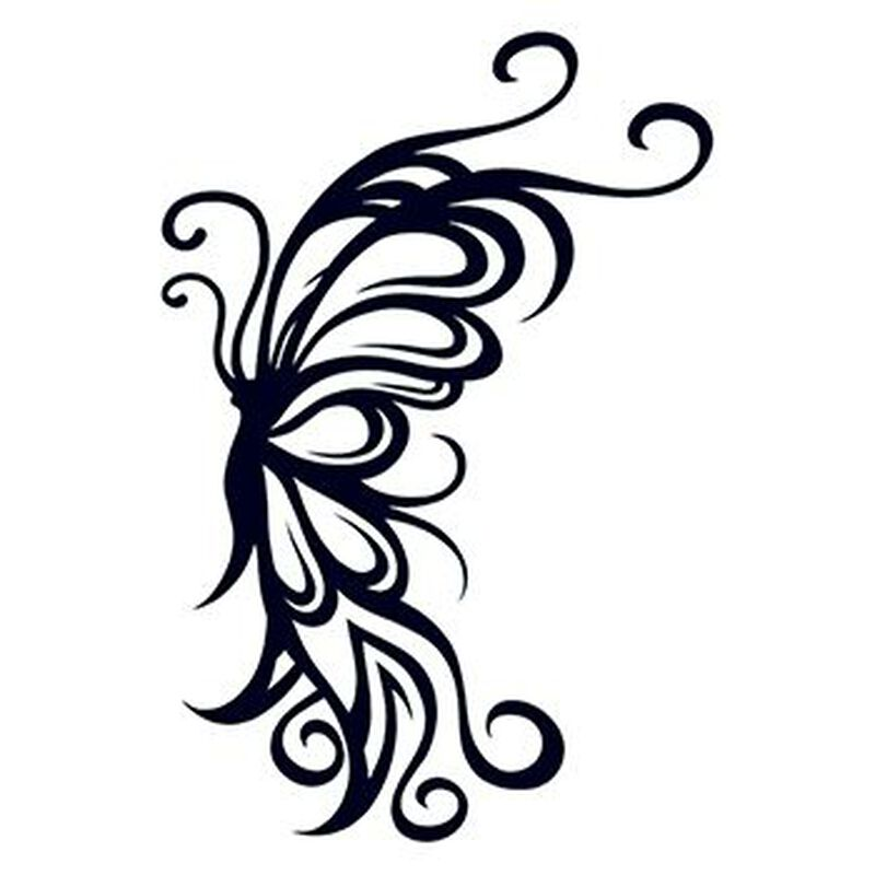 Tribal Flying Butterfly Temporary Tattoo image number null