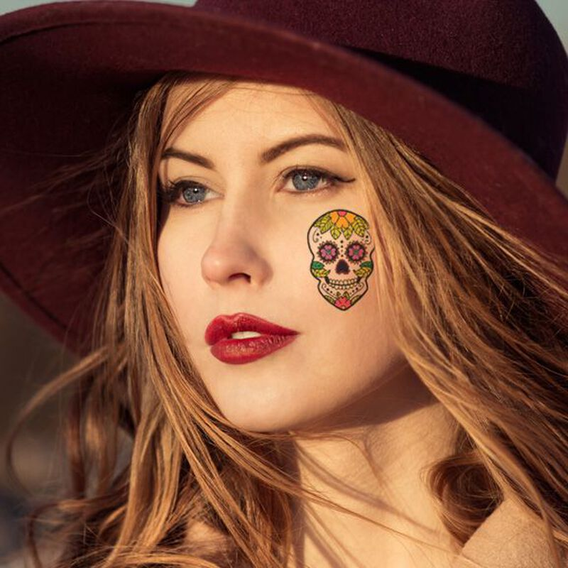 Sunflower Skull Day of the Dead Temporary Tattoo image number null