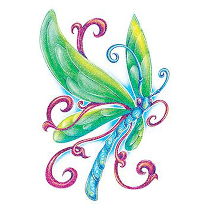Glitter Blue Dragonfly Temporary Tattoo image number null