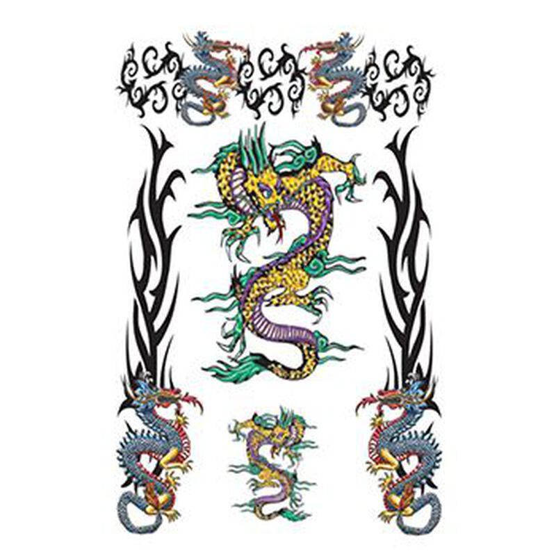 Large Tribal Dragons Temporary Tattoo image number null