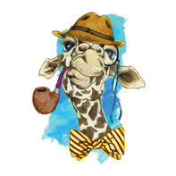 Hipster Watercolor Giraffe With a Pipe Temporary Tattoo (Small)