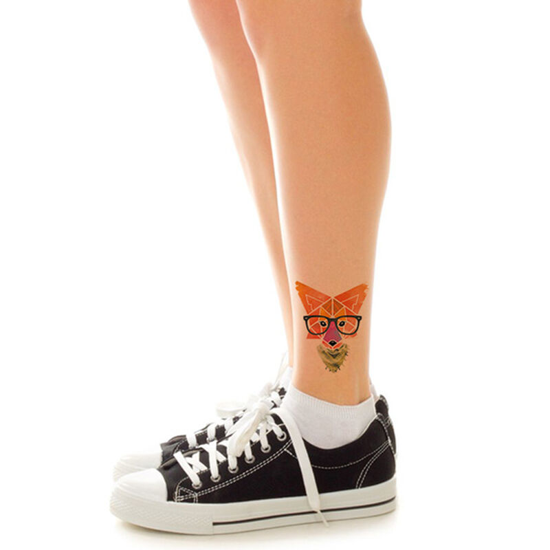 Hipster Geometric Fox Temporary Tattoo image number null