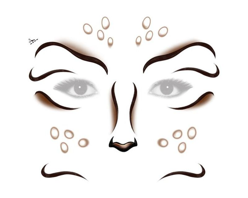 Deer Costume Face Temporary Tattoo image number null