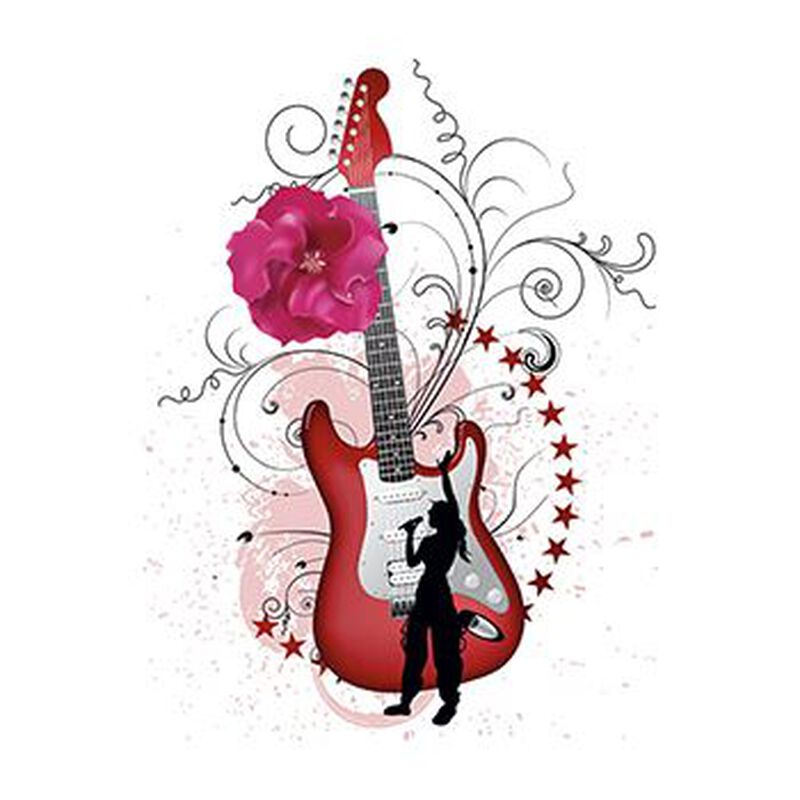 Guitar with Flower Temporary Tattoo image number null