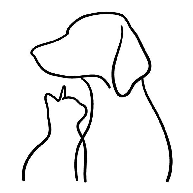 Dog & Cat Line Art Temporary Tattoo image number null