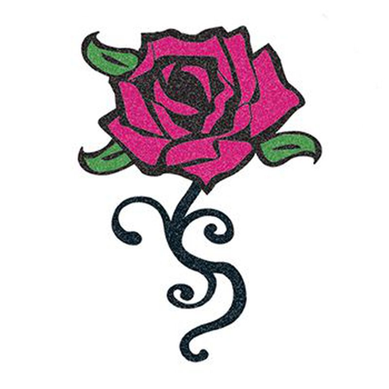 Glitter Black and Pink Rose Temporary Tattoo image number null