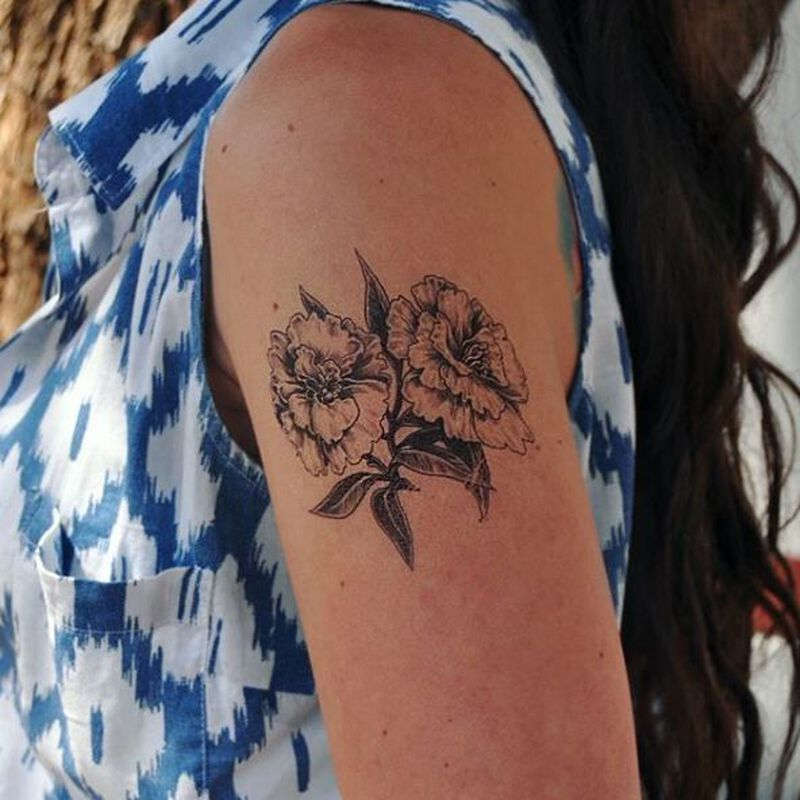 Gray Carnation Temporary Tattoo image number null