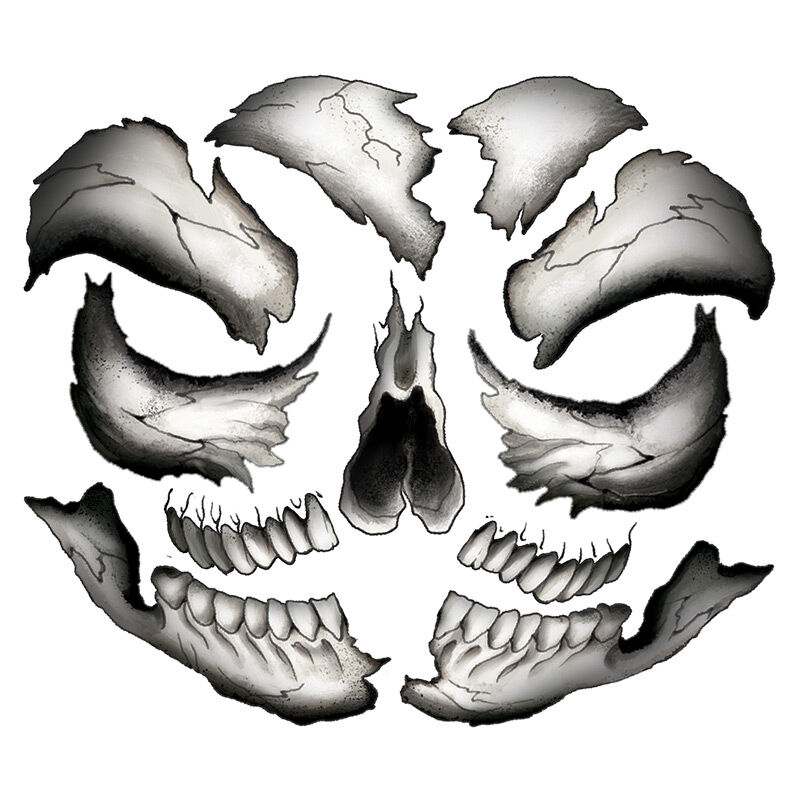Black and White Skull Costume Tattoo image number null