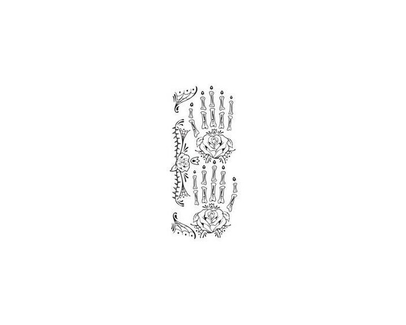 Day of the Dead Skeleton Hand Temporary Tattoo image number null