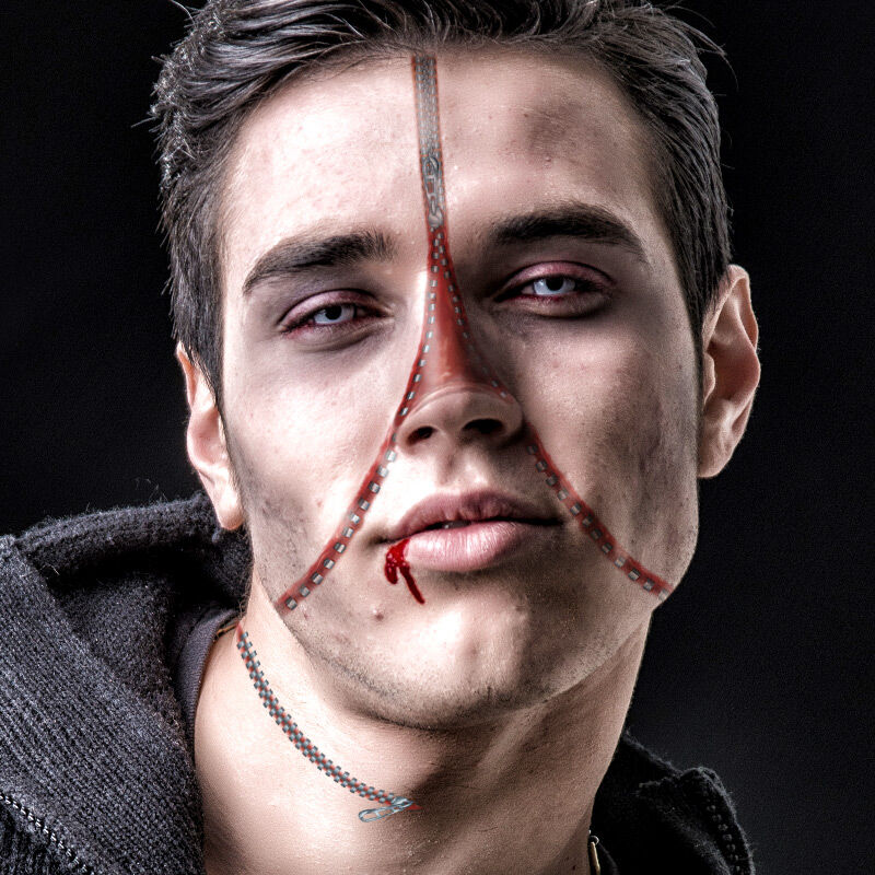 Zipper Face Costume Tattoo image number null