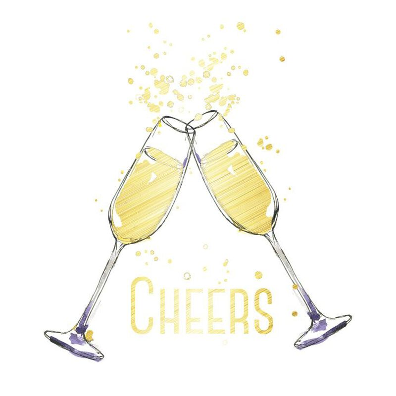Metallic Cheers Glasses Temporary Tattoo image number null