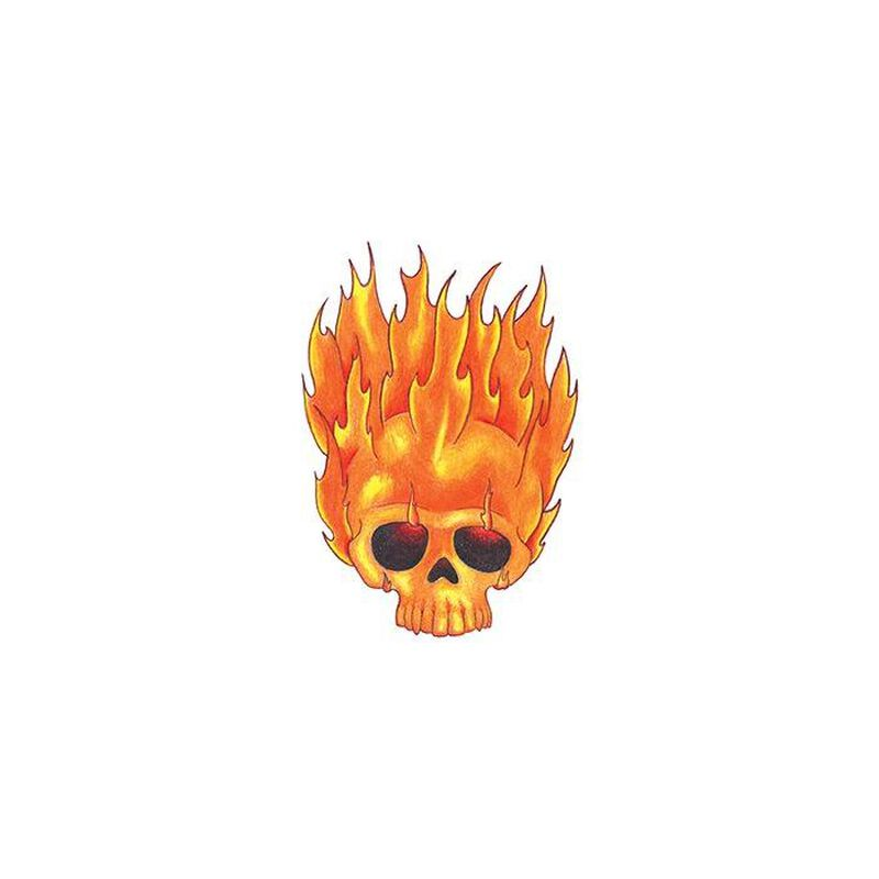 Traditional Flaming Skull Temporary Tattoo image number null