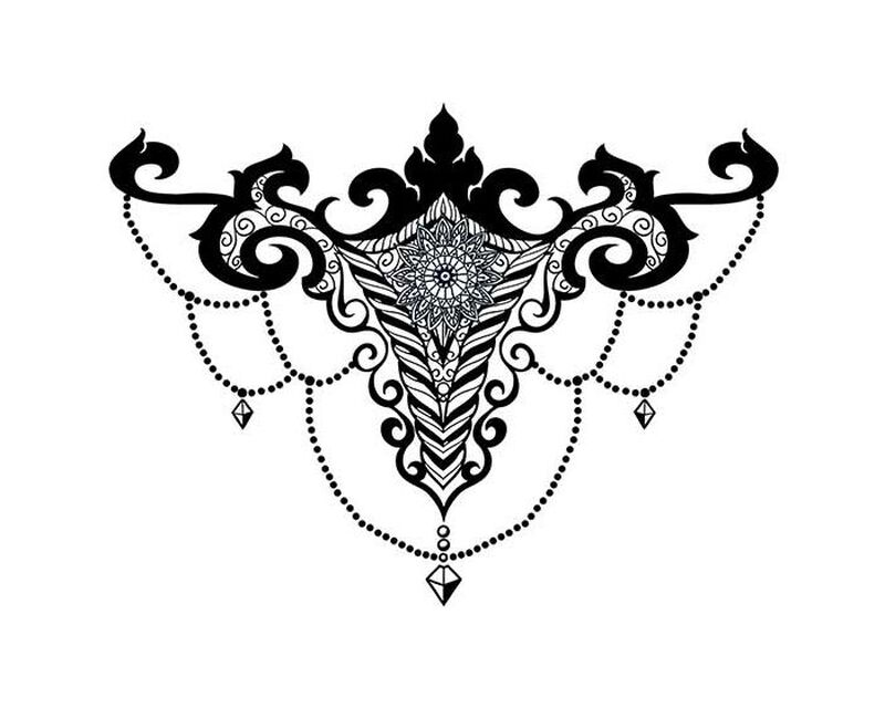 Gem Chandelier Sternum Bikini Temporary Tattoo image number null