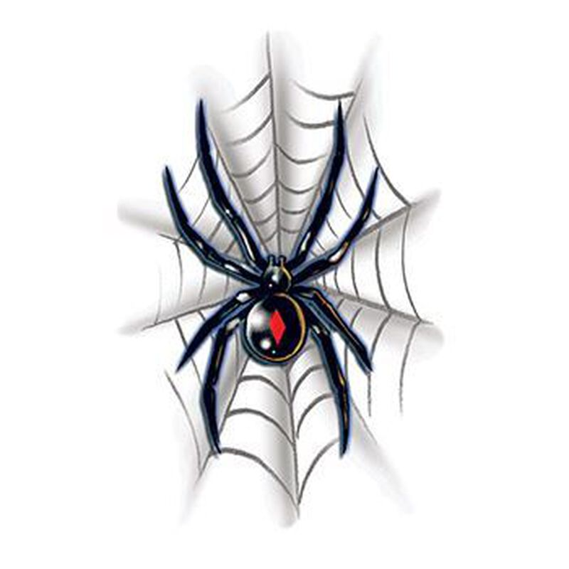 Black Widow with Web Temporary Tattoo image number null