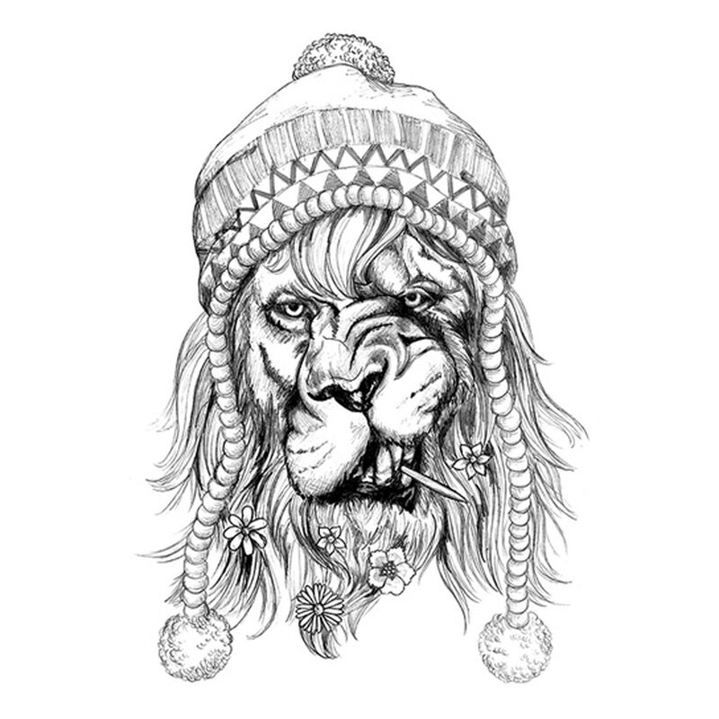 Small Black Hipster Lion Temporary Tattoo image number null