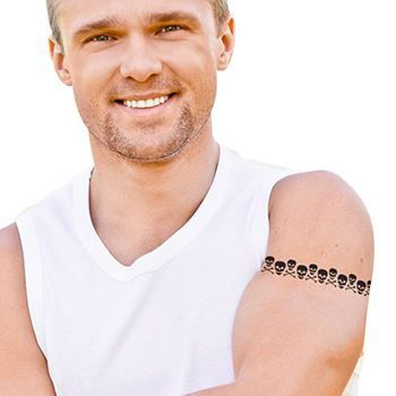 Skull and Crossbones Band Temporary Tattoo image number null