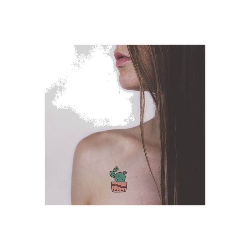 Cactus in Peach Pot Temporary Tattoo image number null