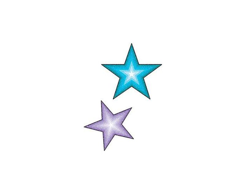 Glitter Purple and Blue Stars Temporary Tattoo image number null