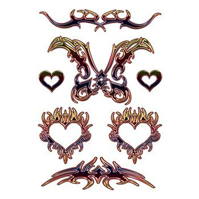 Large Tribal Hearts Temporary Tattoo image number null