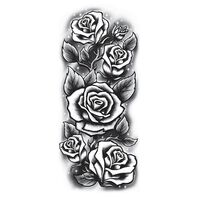Roses Sleeve Black & White Temporary Tattoo