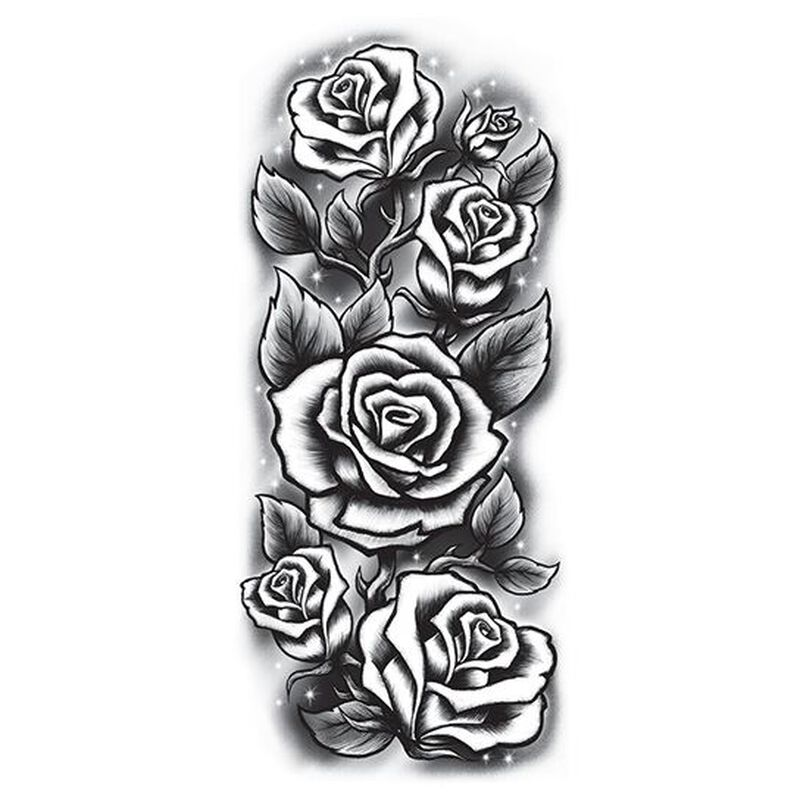 Roses Sleeve Black & White Temporary Tattoo image number null